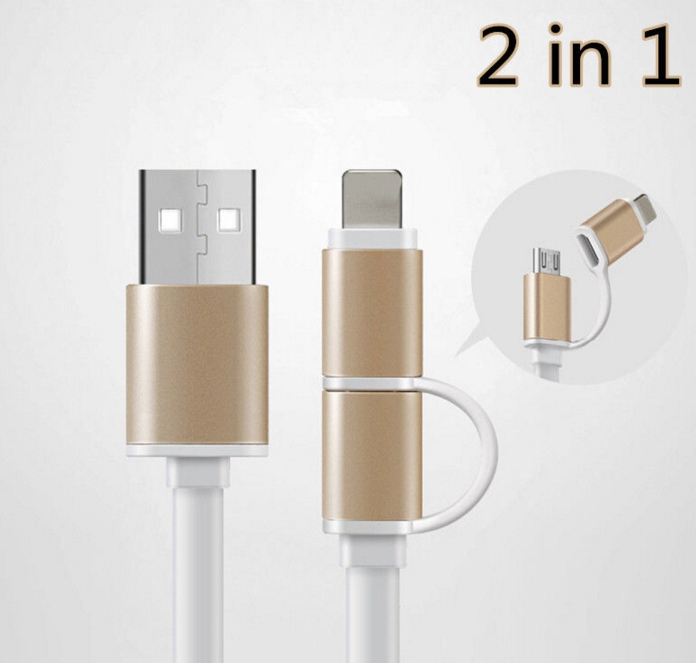 2 en 1 8 Pines Lightning+Micro USB+Cable Carga Sincronización Datos
