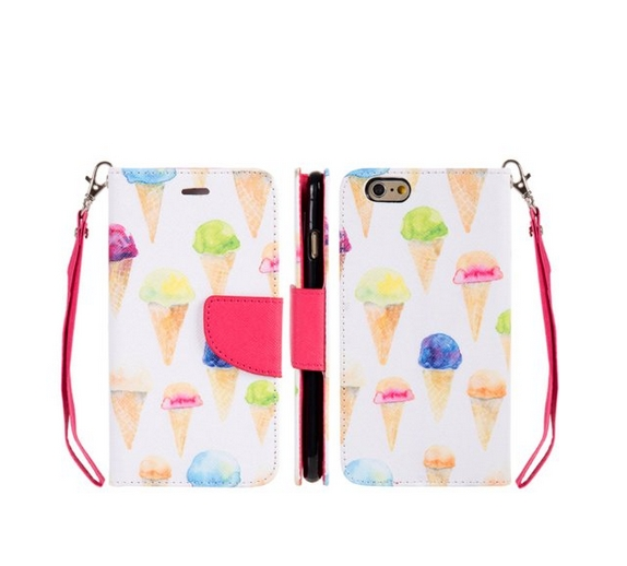 Apple iPhone 6  6s Trndy Leather Flip Wallet Case Ice Cream Delight