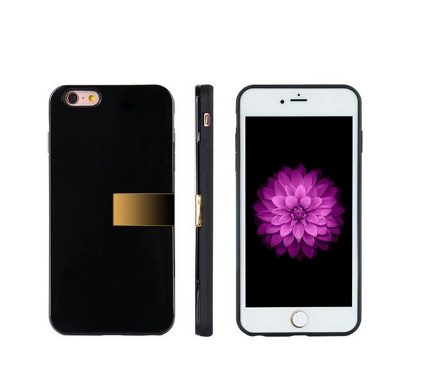 Apple iPhone 6 6s Modern Series Luxury Card Holder Hybrid Case with Gold Stand Black