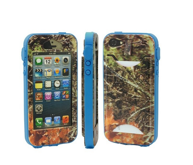 Durable Camouflauge iPhone 5 Band-It Case Orange Cambo with Bo Blue Band