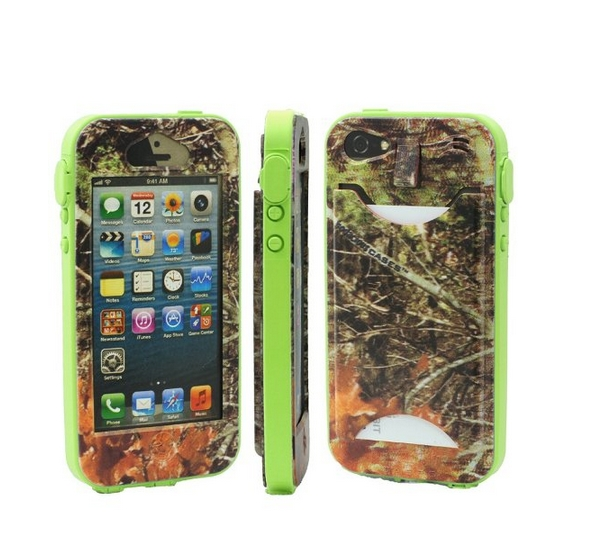 Durable Camouflauge iPhone 5 Band-It Case Orange Cambo with Bo Green