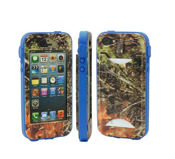 Durable Camouflauge iPhone 5 Band-It Case Orange Cambo with Dark Blue Band