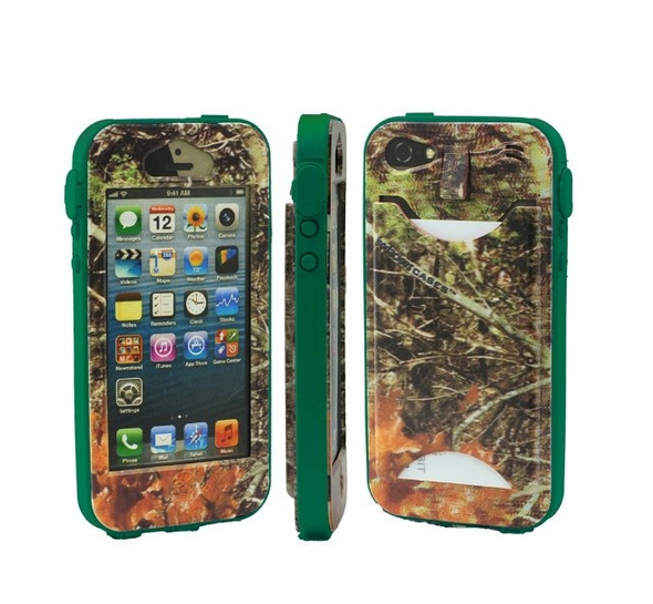 Durable Camouflauge iPhone 5 Band-It Case Orange Cambo with Dark Green Band
