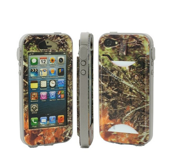 Durable Camouflauge iPhone 5 Band-It Case Orange Cambo with Gray Band