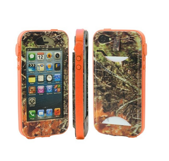 Durable Camouflauge iPhone 5 Band-It Case Orange Cambo with Orange Band