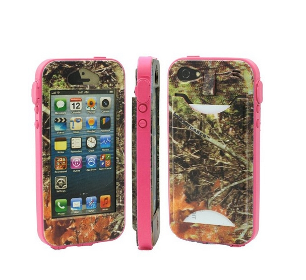Durable Camouflauge iPhone 5 Band-It Case Orange Cambo with Pink Band