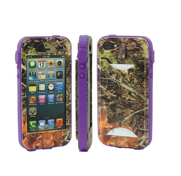 Durable Camouflauge iPhone 5 Band-It Case Orange Cambo with Purple Band