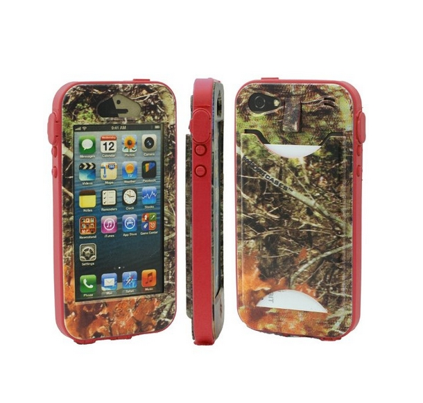 Durable Camouflauge iPhone 5 Band-It Case Orange Cambo with Red Band