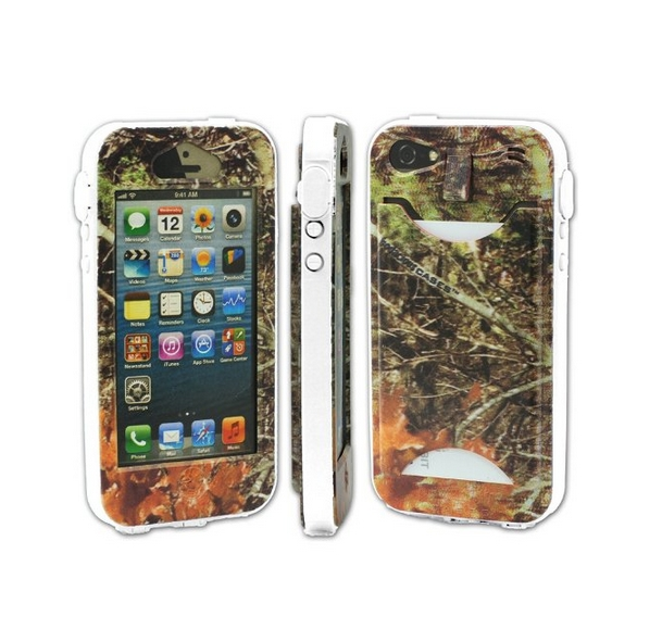 Durable Camouflauge iPhone 5 Band-It Case Orange Cambo with White Band