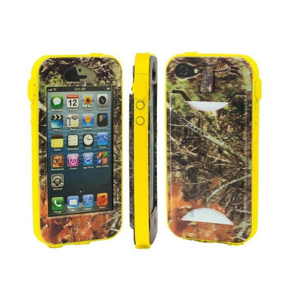 Durable Camouflauge iPhone 5 Band-It Case Orange Cambo with Yellow Band