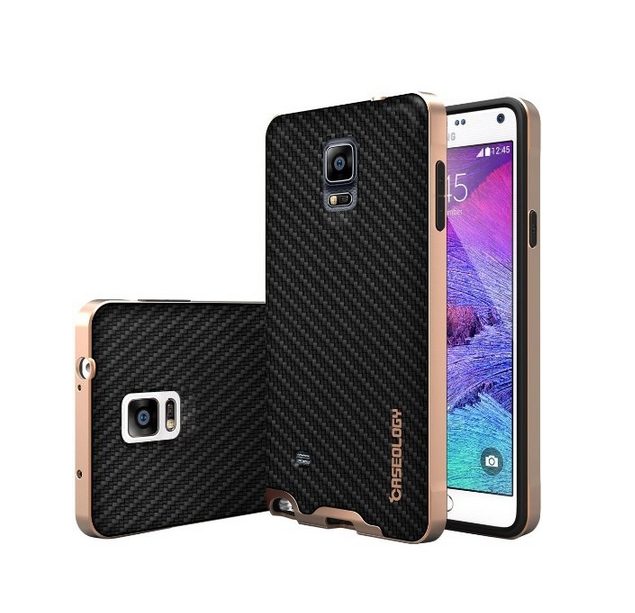 Galaxy Note 4 Case Caseology Envoy Series Premium Leather Bumper Cover  Carbon Fiber Black
