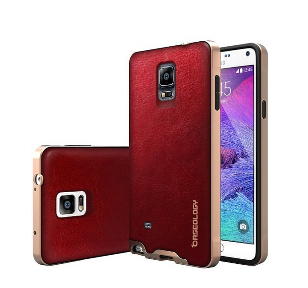 Galaxy Note 4 Case Caseology Envoy Series Premium Leather Bumper Cover  Carbon Fiber burgunady red