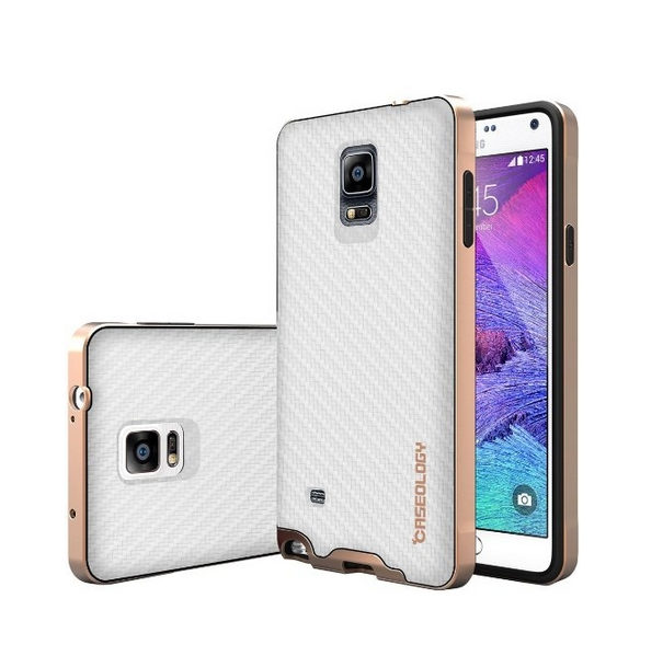 Galaxy Note 4 Case Caseology Envoy Series Premium Leather Bumper Cover  Carbon Fiber white