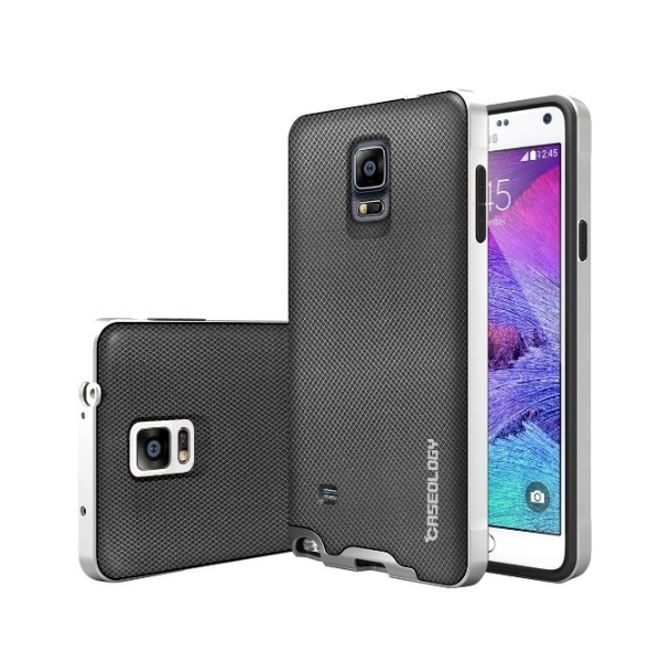 Galaxy Note 4 Case Caseology Envoy Series Premium Leather Bumper Cover  metallic mesh silver