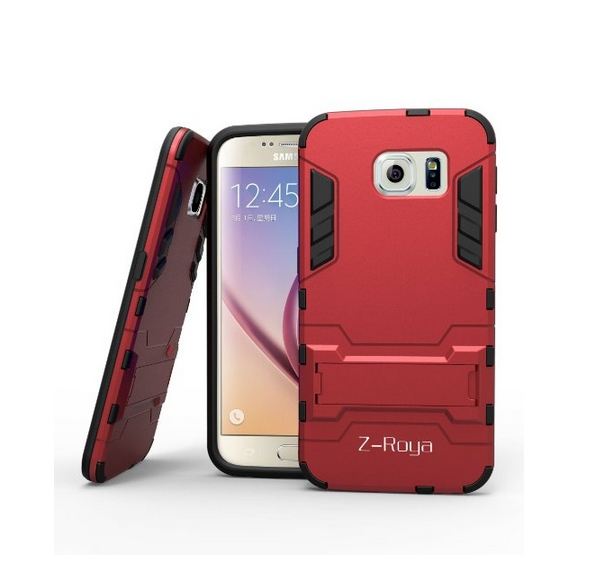 Galaxy S6 Case  Robot-Bear Dual Layer Protective Hybird Armor Case Slim red