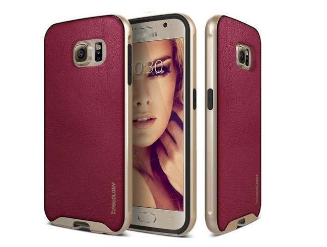 Galaxy S6 Case Caseology Envoy Series  Premium Leather Bumper Cover  Burgundy Red Leather Bound