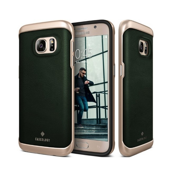 Galaxy S7 Case Caseology Envoy Series GENUINE Leather Bumper Cover leather green
