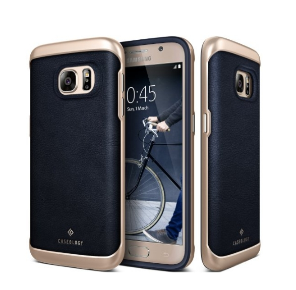 Galaxy S7 Case Caseology Envoy Series GENUINE Leather Bumper Cover navy blue