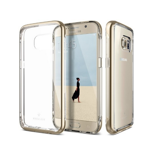 Galaxy S7 Case Caseology Skyfall Series Scratch-Resistant Clear Back Cover gold Shock Absorbent