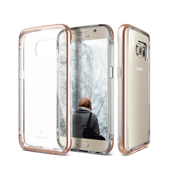 Galaxy S7 Case Caseology Skyfall Series Scratch-Resistant Clear Back Cover rose gold