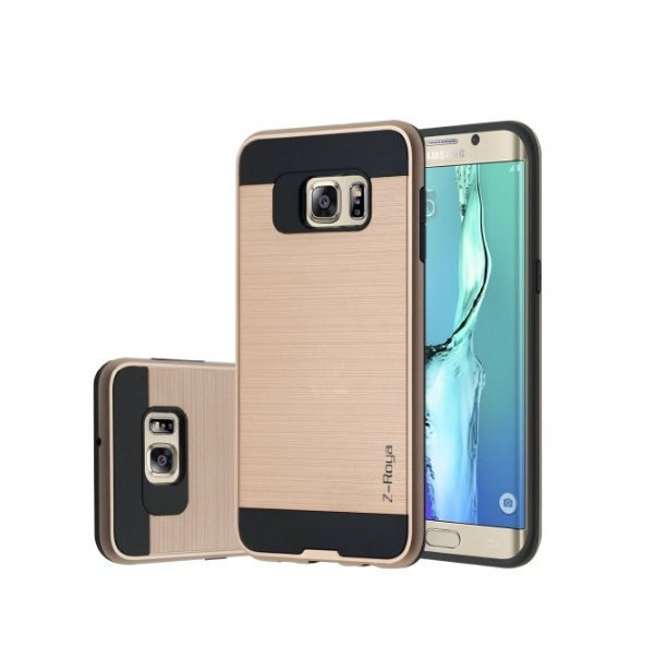 Galaxy S7 Edge Case Z-Roya Meister Brushed Metal Texture Slim Fit gold