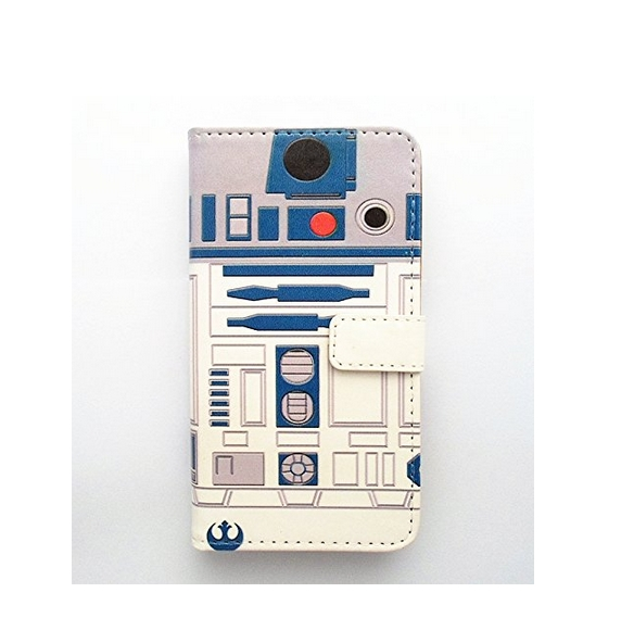 HTC One M7 Wallet Case - R2D2 Robot Pattern Slim Wallet Card Flip Stand PU Leather Pouch