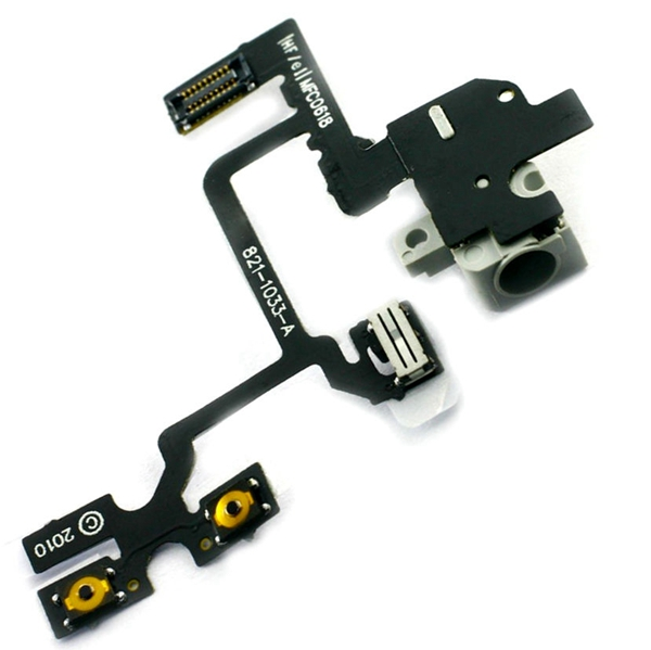 Auricular Conector Volume Botons Switch Flex para iPhone 4 blanco