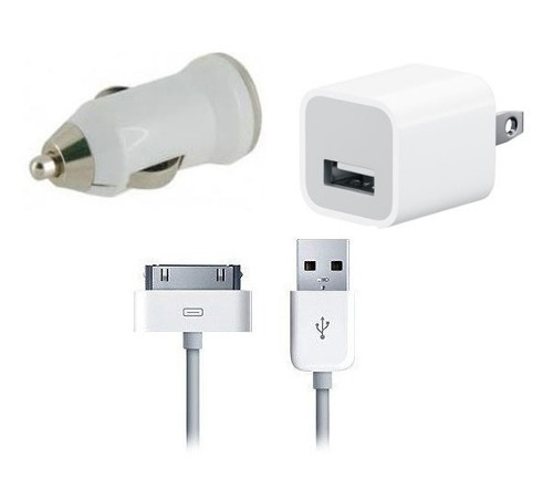 Kit 3 En 1 Ipod Iphone Cargador Casa + Cable + Cargador Auto
