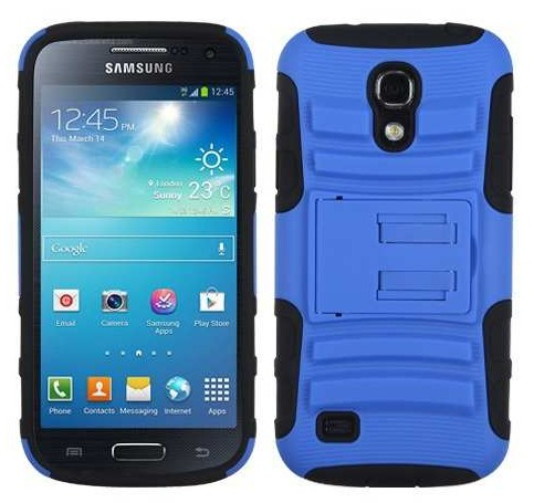Protector Mixto Samsung Galaxy S4 Mini Azul Con Pie
