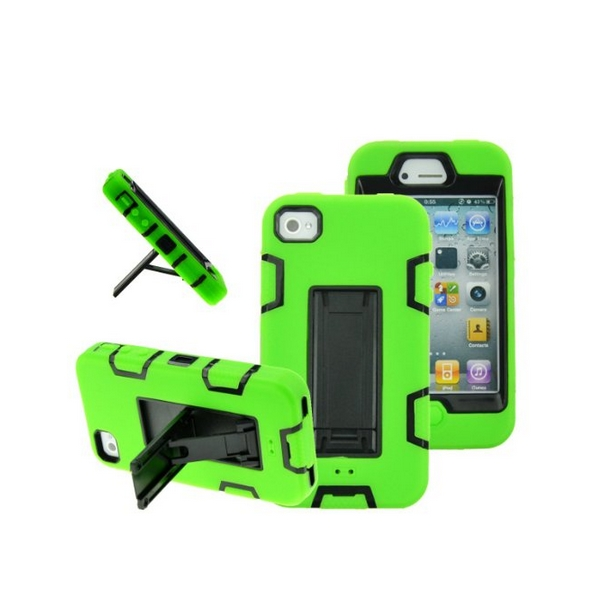 iPhone 4 Case iPhone 4S Case  Robot Guard Hybrid Rugged Triple Layer Combo Case black green