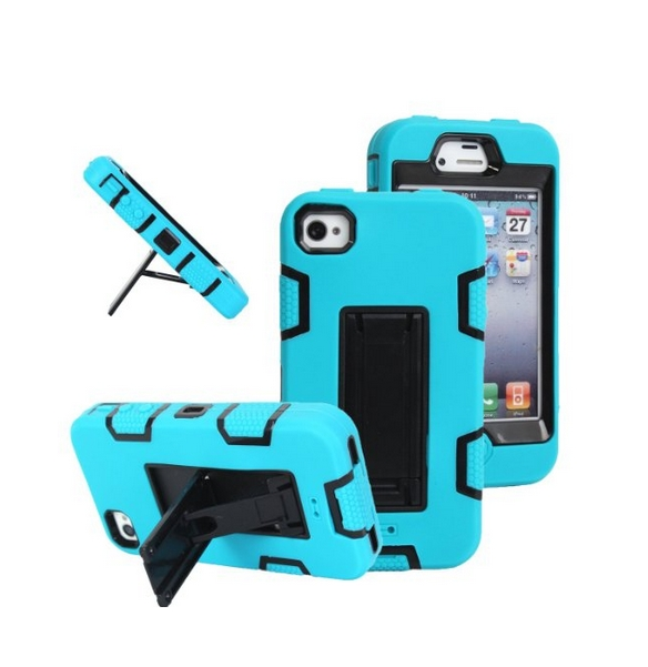 iPhone 4s case iPhone 4 case MagicSky Robot Series Hybrid Armored Case with Kickstand for Apple blue