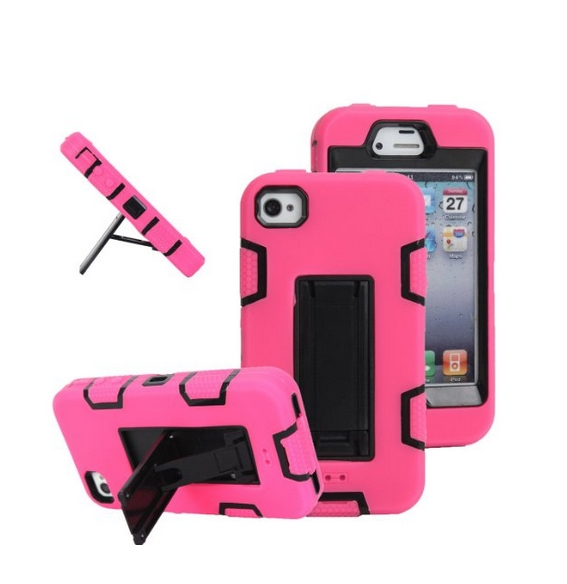 iPhone 4s case iPhone 4 case MagicSky Robot Series Hybrid Armored Case with Kickstand for Apple pink