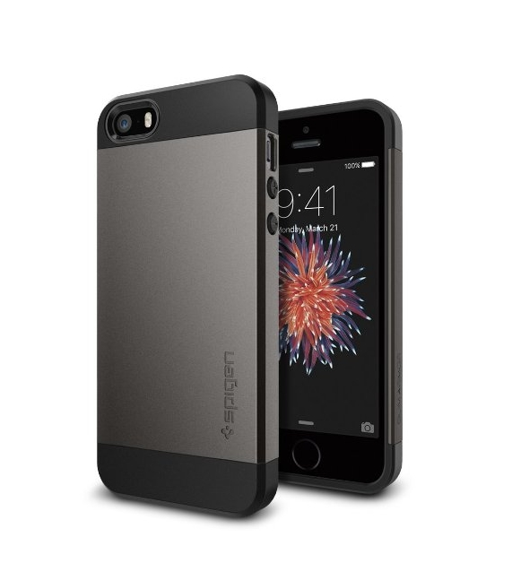 iPhone 5S Case  Spigen Slim Armor SHOCK ABSORPTION Metal Slate Dual Layer Protective Case for iPhone 5 5S - gunmetal
