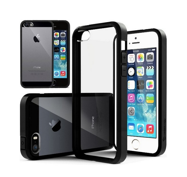 iPhone 5S Case Caseology Fusion Series Scratch-Resistant Clearback Cover Black Dual Bumper