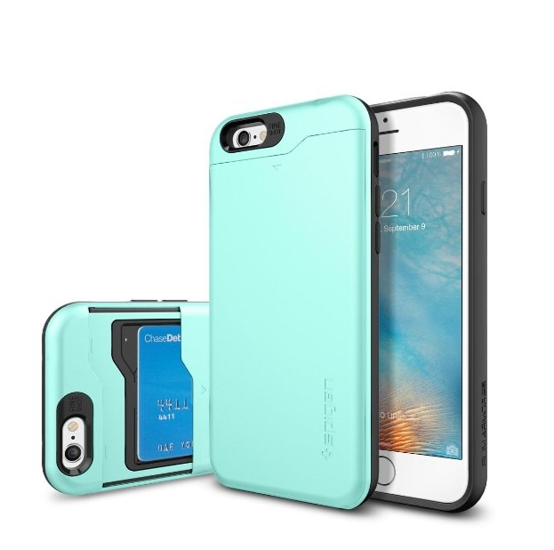iPhone 6 Case Spigen Slim Armor CS Card Holder Gunmetal With Card Holder Advanced Shock Absorption Protective Wallet Case for iPhone 6 - mint