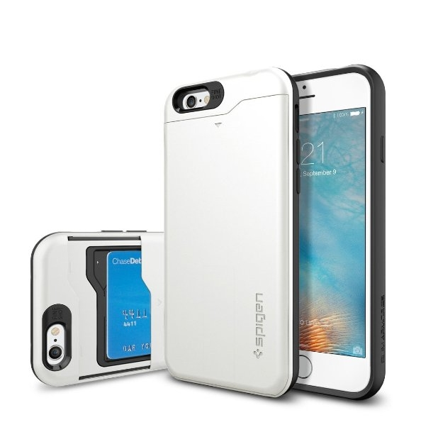 iPhone 6 Case Spigen Slim Armor CS Card Holder Gunmetal With Card Holder Advanced Shock Absorption Protective Wallet Case for iPhone 6 - shimmery white