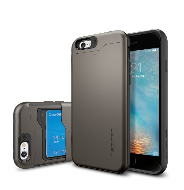 iPhone 6 Case Spigen Slim Armor CS Card Holder Gunmetal With Card Holder Advanced Shock Absorption Protective Wallet Case for iPhone 6- Gunmetal