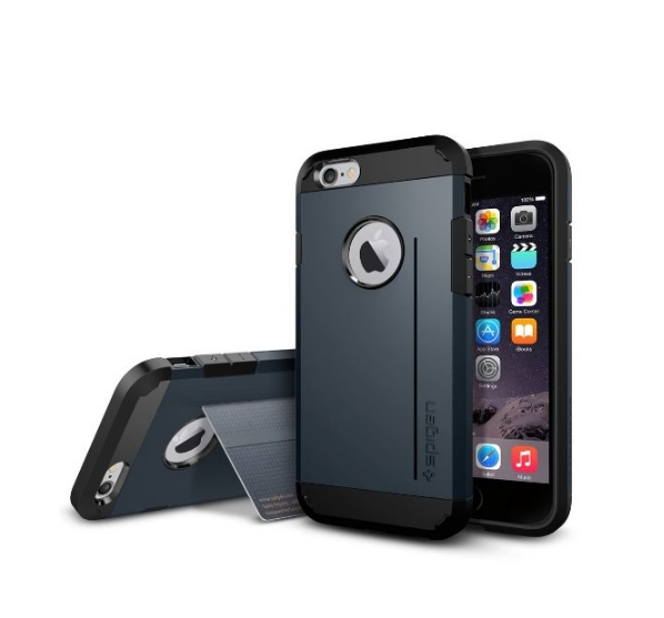 iPhone 6 Case Spigen Tough Armor  Heavy Duty  Gunmetal Dual Layer EXTREME Protection Cover metal slate