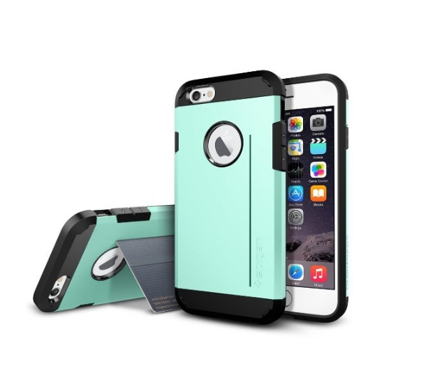 iPhone 6 Case Spigen Tough Armor  Heavy Duty  Gunmetal Dual Layer EXTREME Protection Cover mint