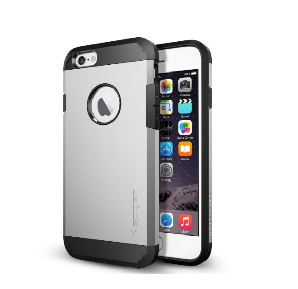 iPhone 6 Case Spigen Tough Armor  Heavy Duty  Gunmetal Dual Layer EXTREME Protection Cover satin silver