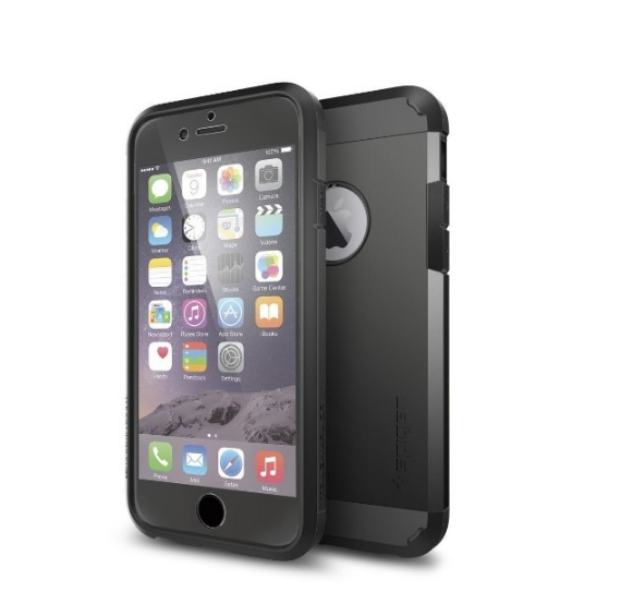 iPhone 6 Case Spigen Tough Armor  Heavy Duty  Gunmetal Dual Layer EXTREME Protection Cover smooth black