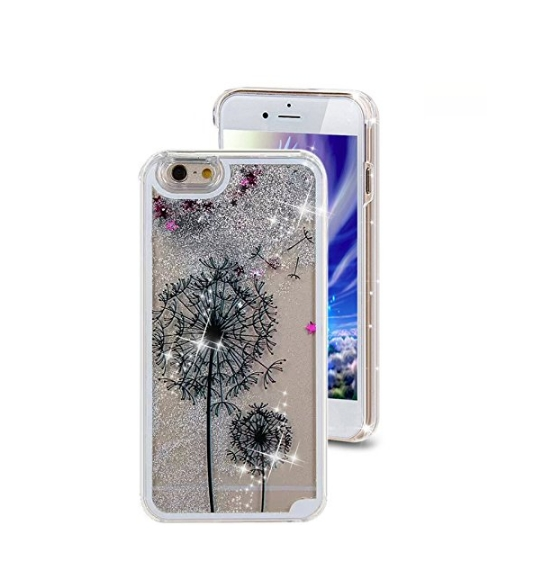 iPhone 6 Plus CaseCrazy Panda 3D Creative Liquid Glitter Design iPhone 6 Plus Liquid black dandelions