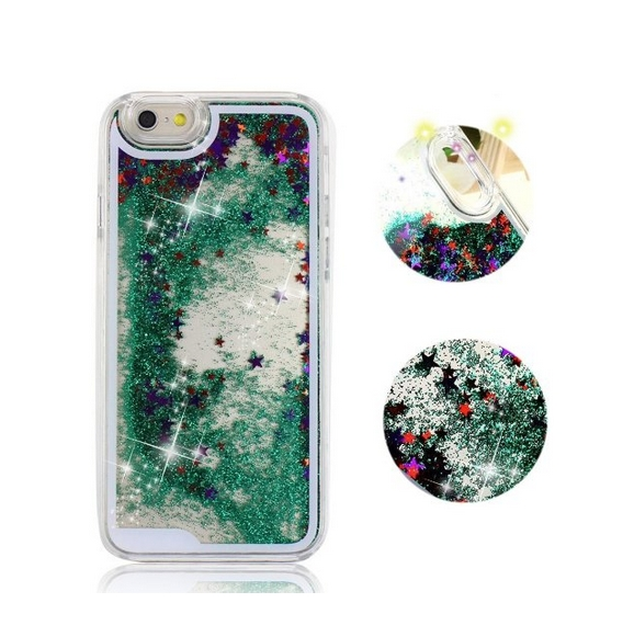 iPhone 6 Plus CaseCrazy Panda 3D Creative Liquid Glitter Design iPhone 6 Plus Liquid green stars