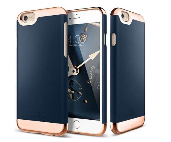 iPhone 6S Case Caseology Savoy Series  Chrome   Microfiber Slider Case  Navy Blue Premium Rose Gold